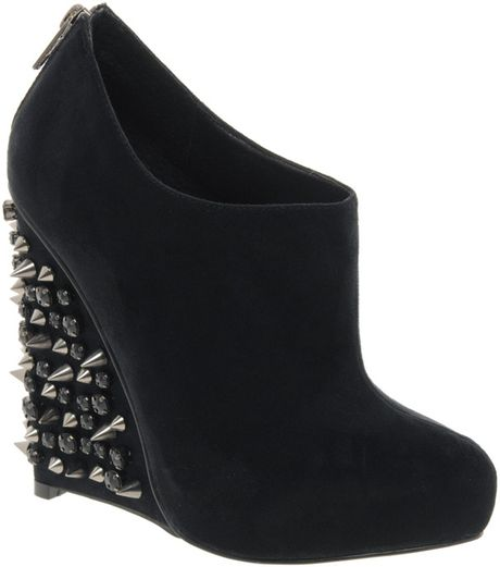 asos asos tiger studded wedge shoe boots in black lyst