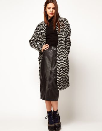 ASOS Collection Asos Knitted Jacquard Longline Coat - Lyst