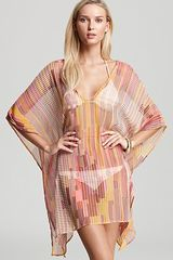 Echo Logo Stripe Short Caftan Swimsuit Coverup - Lyst