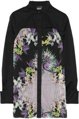 Just Cavalli Floral Print Crepe and Stretch Cotton Shirt - Lyst