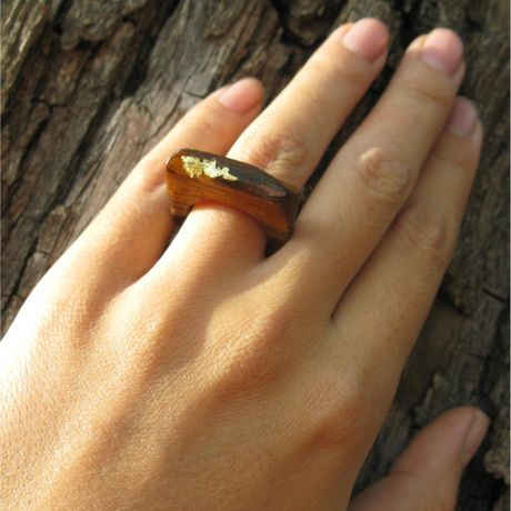 Linda friedrich jewelry hand carved wood ring in gold lyst for How to carve a wooden ring