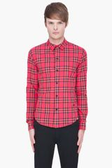 Marc By Marc Jacobs Deep Pink Nico Plaid Shirt