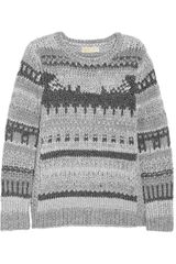 Michael by Michael Kors Metallic Paneled Chunkyknit Sweater - Lyst