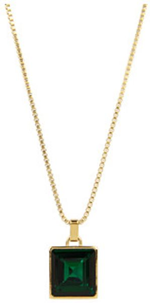 Michael Kors Cocktail Party Emerald Crystal Square Pendant Necklace - Lyst