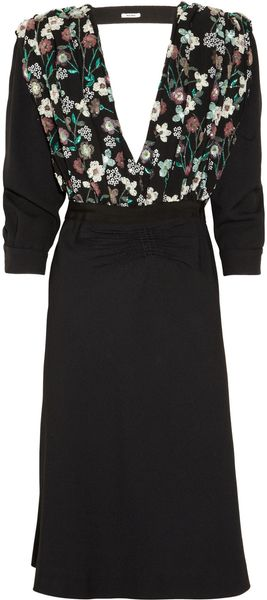 Miu Miu Embellished Cutout Crepe Dress - Lyst