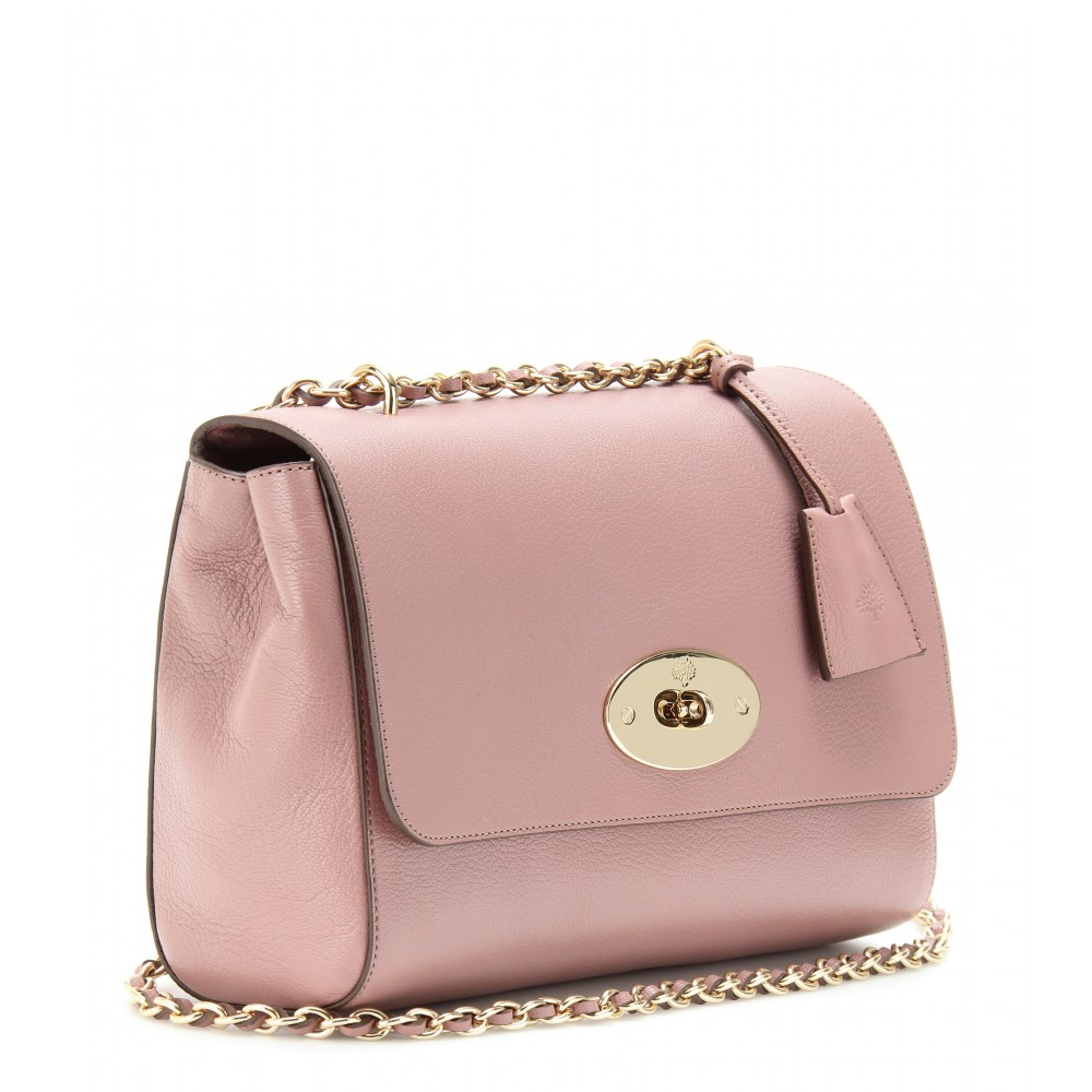 7c9faad41cea ... shopping lyst mulberry medium lily glossy leather shoulder bag in pink  94567 320e9