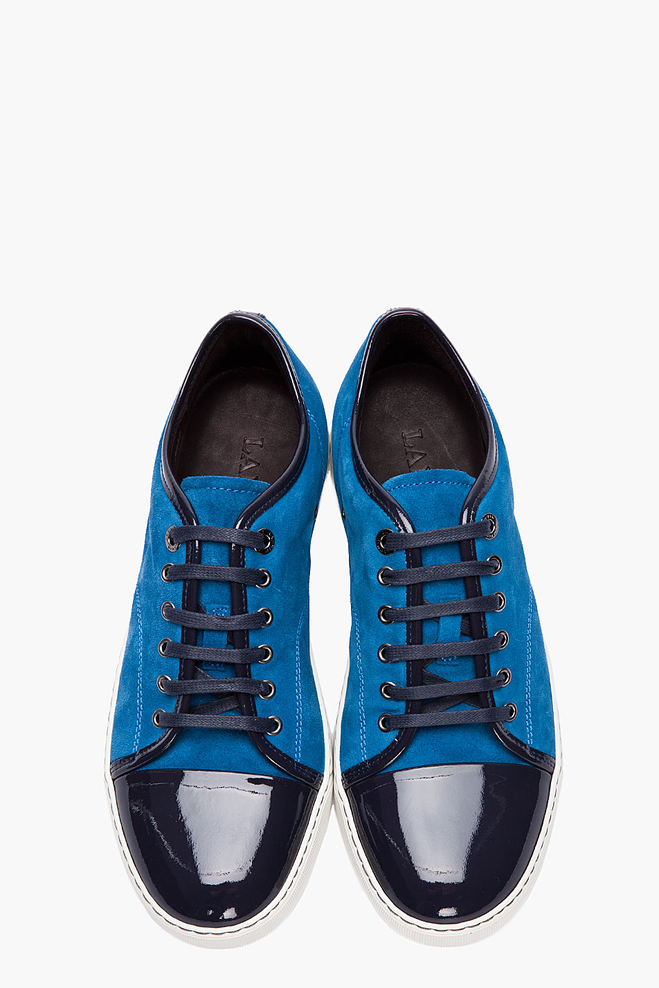 lanvin blue combo patent and suede tennis shoes in blue