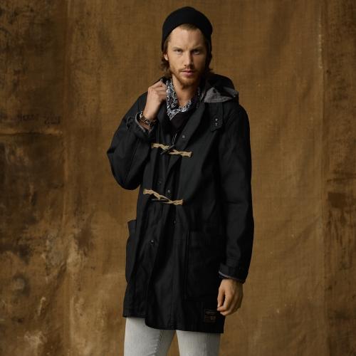 Ralph lauren Waxed Canvas Duffle Coat in Black for Men | Lyst