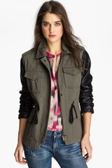 Sanctuary Faux Leather Sleeve Army Jacket - Lyst