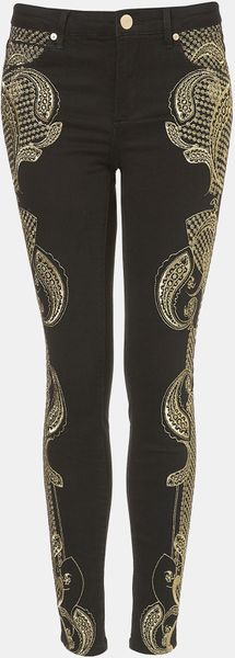Topshop Antonio Embroidered Skinny Jeans in Black