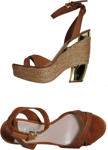 Miu Miu Platform Sandals in Brown - Lyst