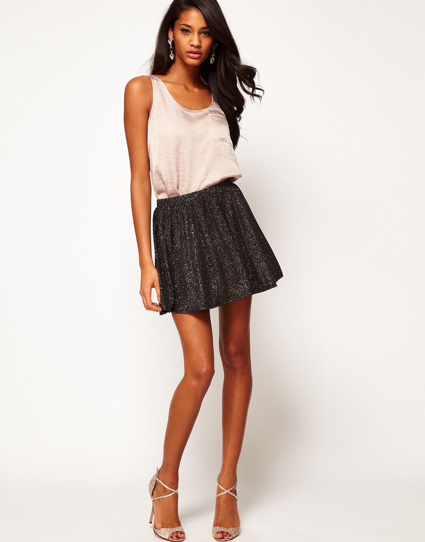 40572dffd722 ASOS Collection Asos Skater Skirt in Glitter Print in Black - Lyst