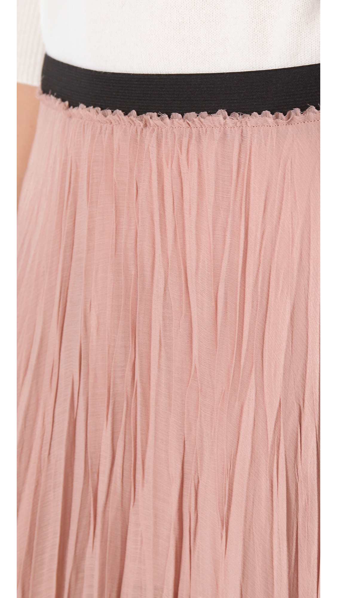 enza costa pleated maxi skirt in pink lyst