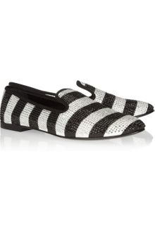 Giuseppe Zanotti Swarovski Crystalembellished Striped Grosgrain Loafers - Lyst