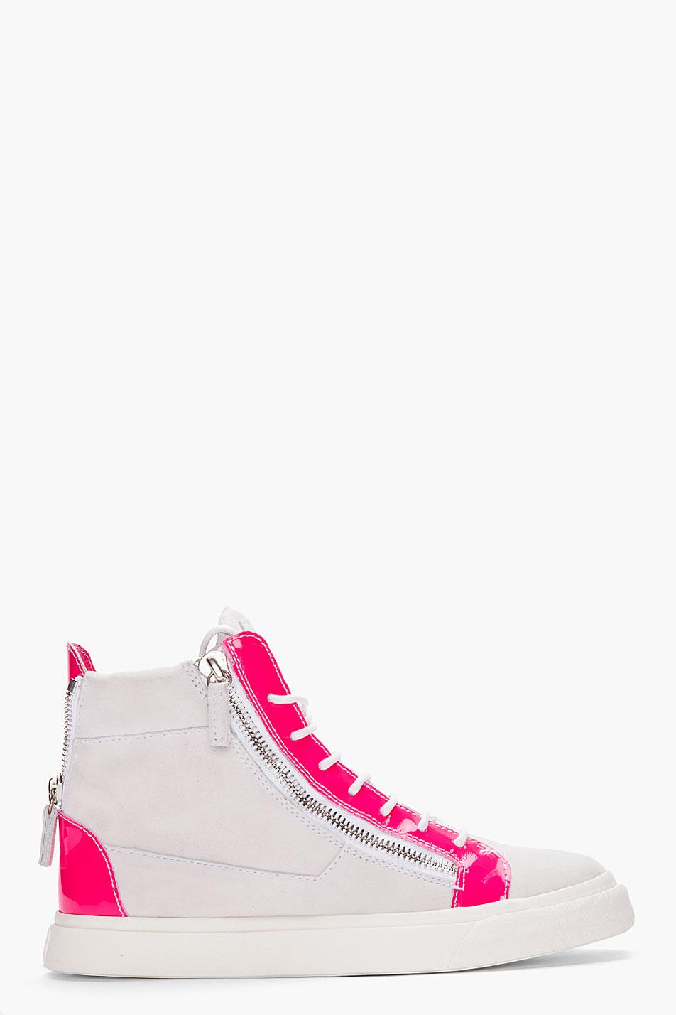 giuseppe zanotti grey and neon pink sneakers in