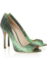 Miu Miu Snakeeffect Leather Pumps