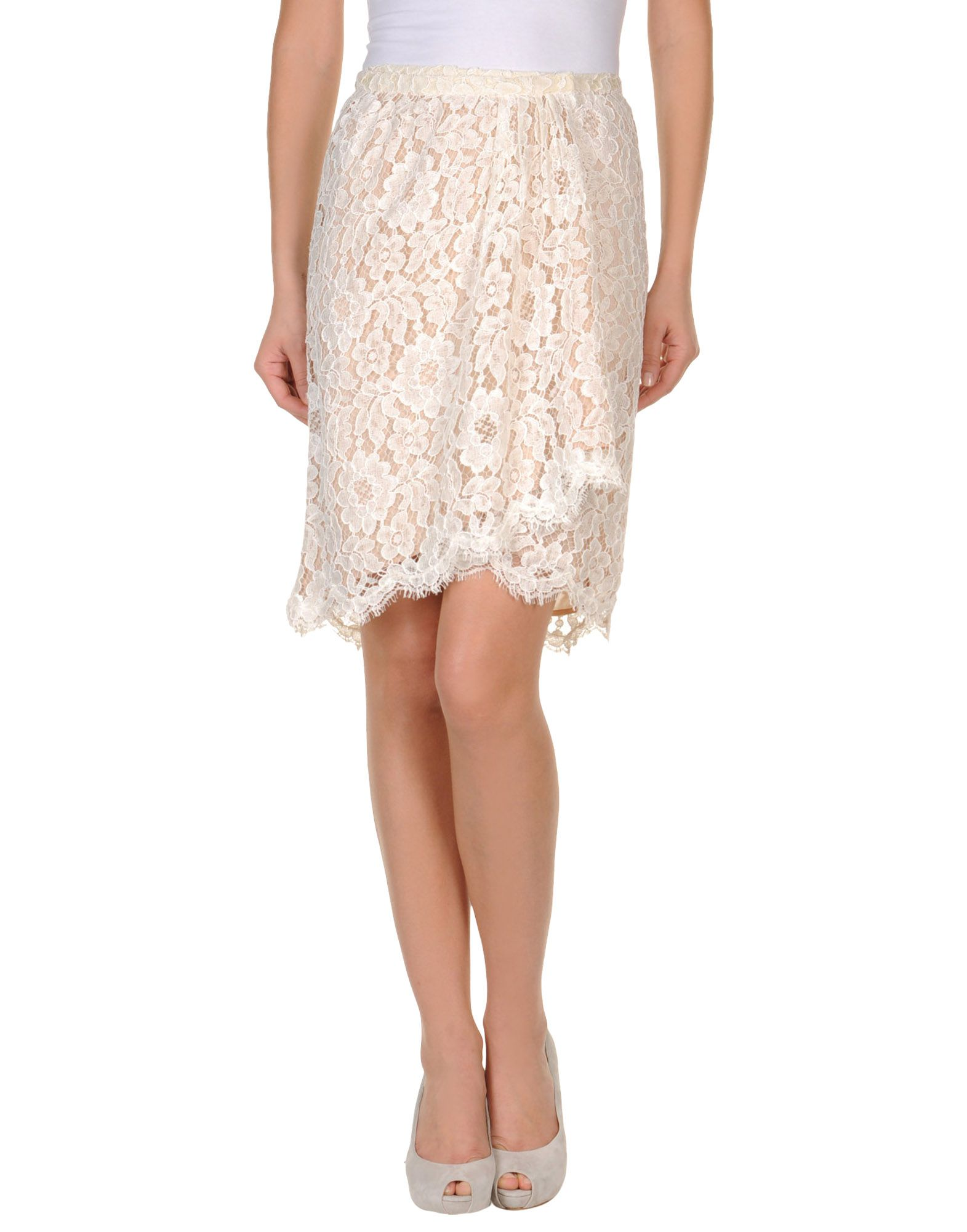 moschino knee length skirts in beige save 60 lyst