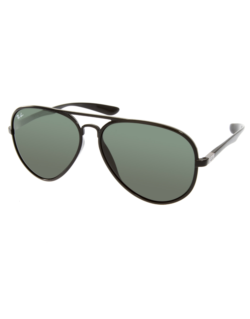 ray ban aviator sunglasses in black for men lyst. Black Bedroom Furniture Sets. Home Design Ideas