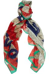Vivienne Westwood Robotprint Cotton and Silkblend Scarf - Lyst