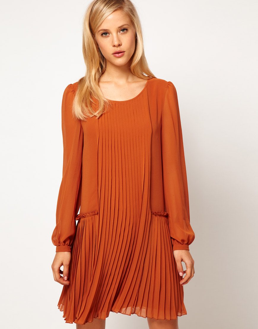 Lyst - Asos collection Asos Shift Dress with Pleated Dropped Waist in Orange