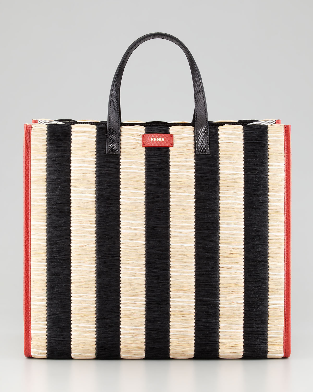 ... 50% off lyst fendi pequin striped raffia snake tote bag in black a5006  449e6 aee367417b