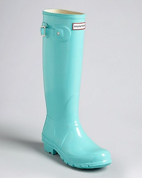 Hunter Rain Boots Original Tall Gloss in Blue (flame)   Lyst