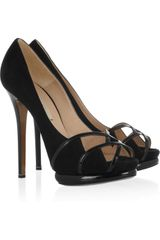 Nicholas Kirkwood Peeptoe Suede and Patentleather Pumps - Lyst