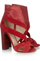 Nicholas Kirkwood Erdem Lace and Suede Sandals - Lyst