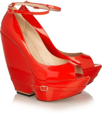 Nicholas Kirkwood Patentleather Wedge Pumps - Lyst