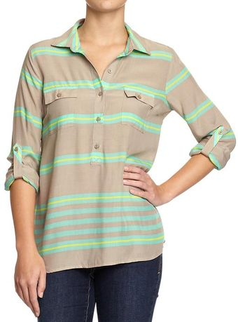 Old Navy Roll Cuff Blouse - Lyst