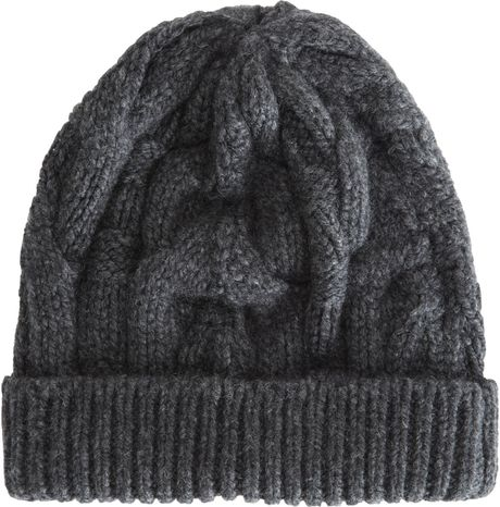 Barneys New York Cable Knit Skull Cap in Gray (charcoal) - Lyst