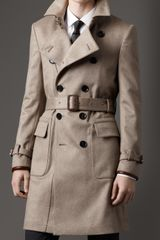 Burberry Mid-Length Cashmere Trench Coat - Lyst