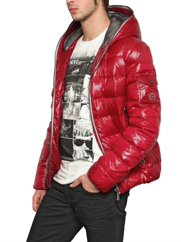 lyst calvin klein jeans shiny down jacket in red for men