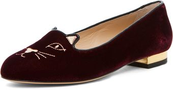 Charlotte Olympia Kitty Flat in Burgundy - Lyst