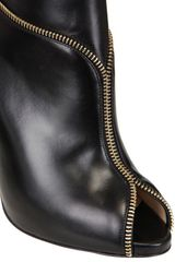 Christian Louboutin 120mm Col Zipped Calf Open Toe Low Boots in Black - Lyst