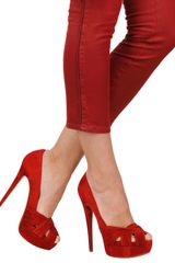 Christian Louboutin 150mm Aborina Suede Open Toe Pumps in Red - Lyst