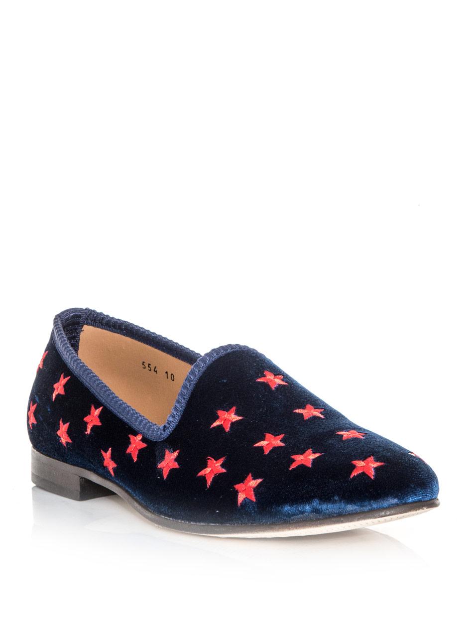 Del Toro Star Embroidered Velvet Slipper Shoes In Blue | Lyst