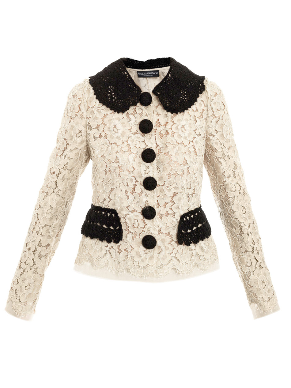 930cc8a12fd Dolce & Gabbana Lace Mounted Organza Jacket in Natural - Lyst