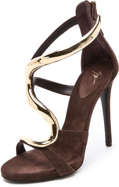 Giuseppe Zanotti Alien Hinged Sandals in Brown (cocoa)