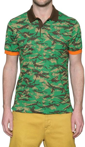 Lacoste petit piquet camouflage polo shirt in green for for Camo polo shirts for men