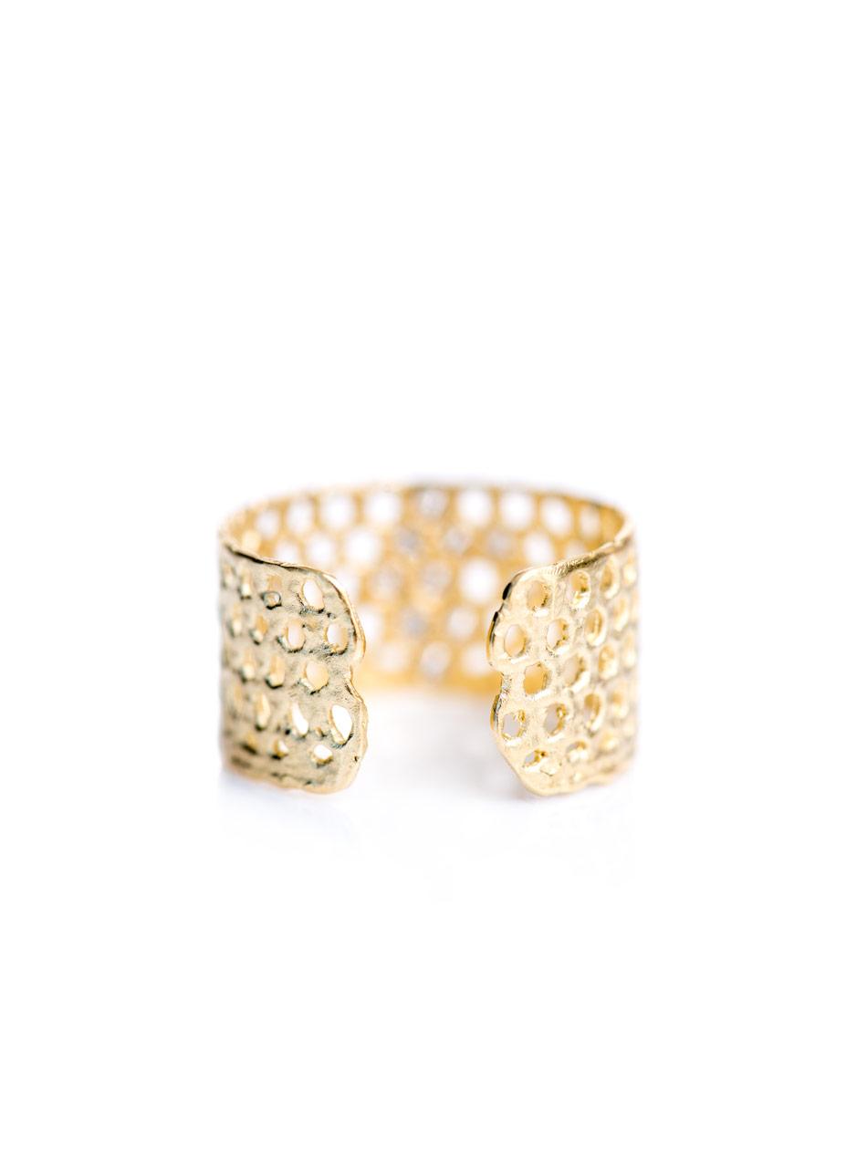 Lara Melchior diamond cuff ring - Metallic ZeYeyd7