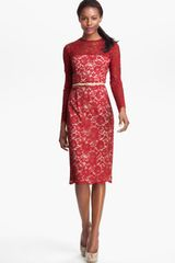 Maggy London Embroidered Lace Overlay Midi Dress - Lyst
