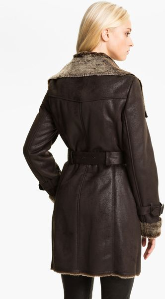 Marc New York By Andrew Marc Faux Shearling Coat In Brown