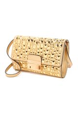 Michael Kors Collection Metallic Studded Lock Clutch in Gold - Lyst