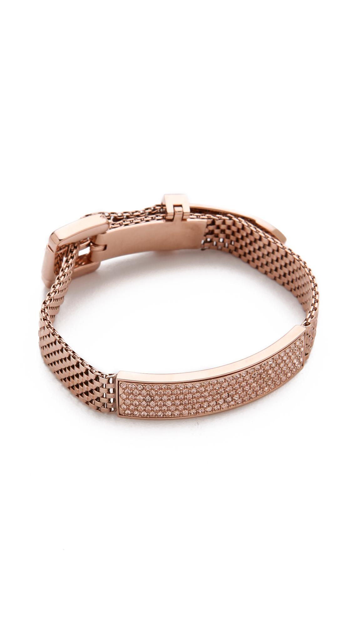 michael kors mesh pav bracelet in gold rose lyst. Black Bedroom Furniture Sets. Home Design Ideas
