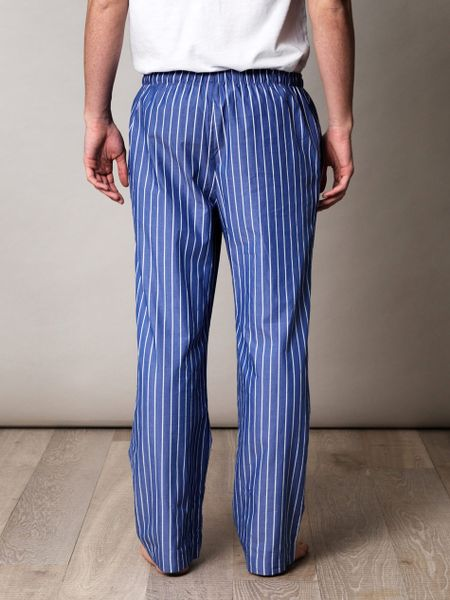 polo ralph lauren striped pyjama bottoms in blue for men. Black Bedroom Furniture Sets. Home Design Ideas