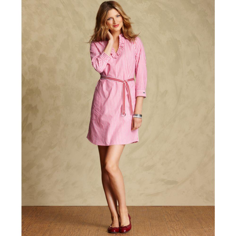 6af39886 Tommy Hilfiger Threequartersleeve Striped Shirtdress in Pink - Lyst