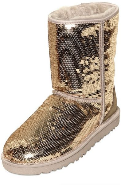 Ugg Classic Short Sequin Gold Boots In Gold Lyst
