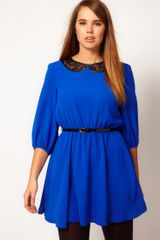 Asos Curve Skater Dress with Lace Peter Pan and Belt - Lyst