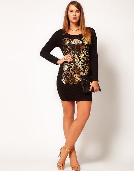 Asos Curve Bodycon Dress With Gold Baroque Print In Gold